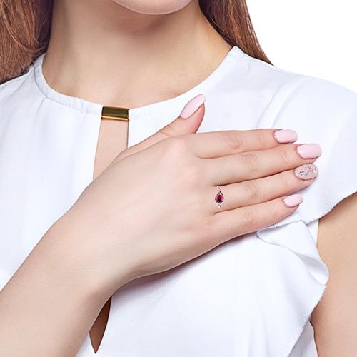 Кольцо с родолитом, фианитами и родированием