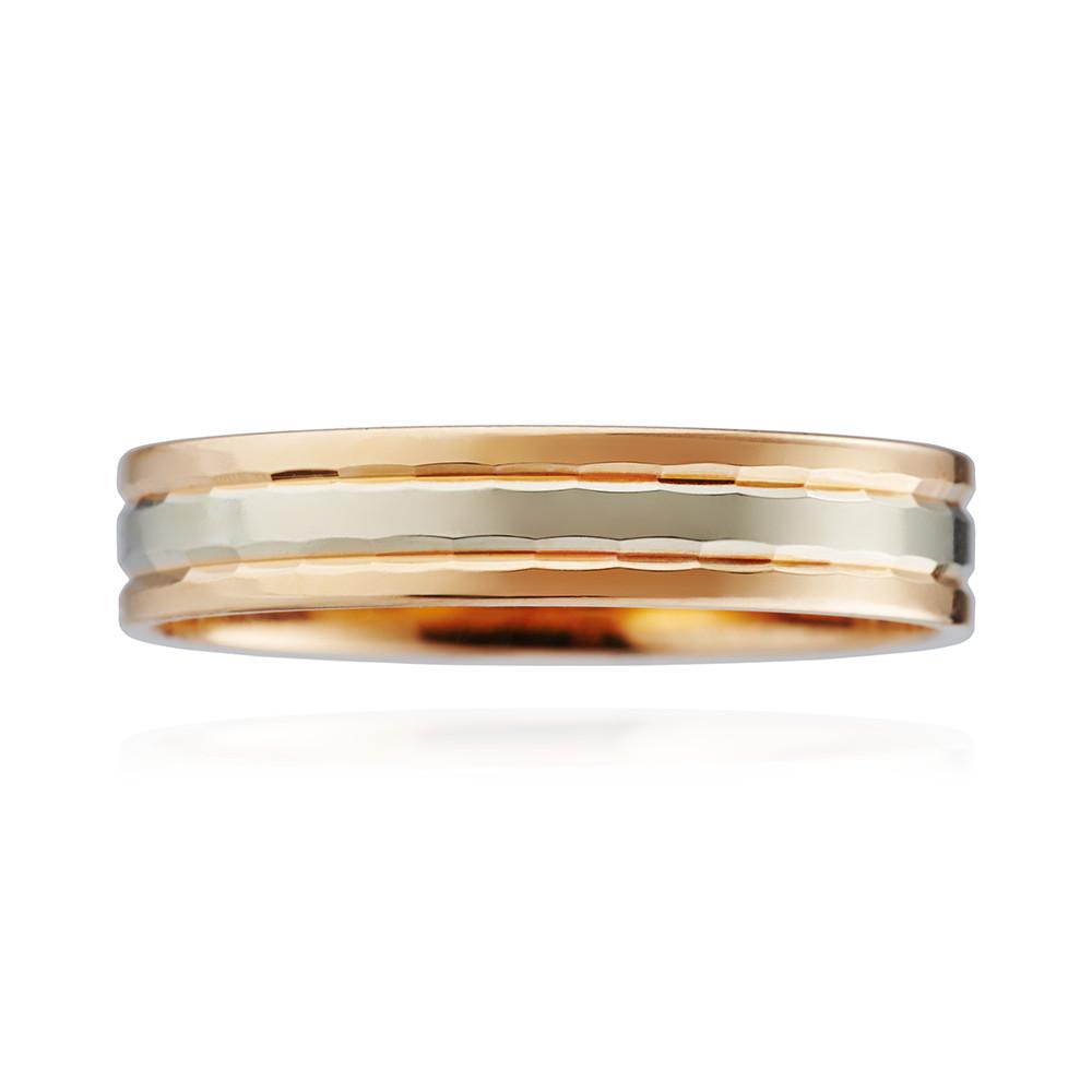 Кольцо обручальное, синтеринг с алмазной гранью, 4 мм