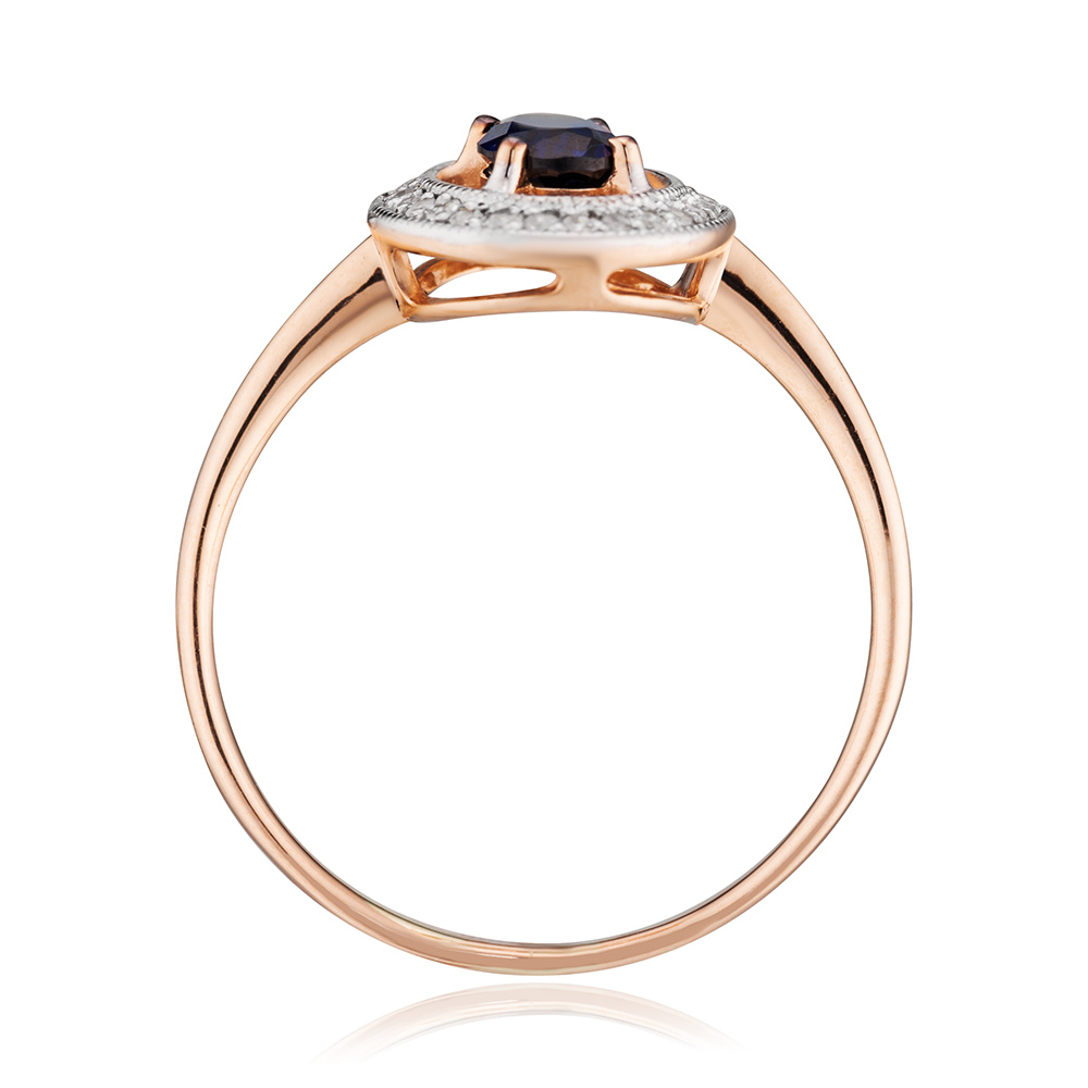 Кольцо с сапфиром корунд (синтетическим) и бриллиантами