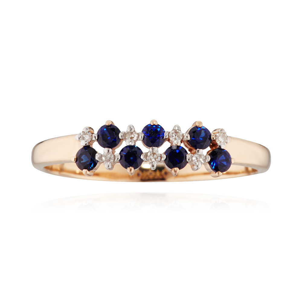 Кольцо с сапфирами (корунд) и бриллиантами