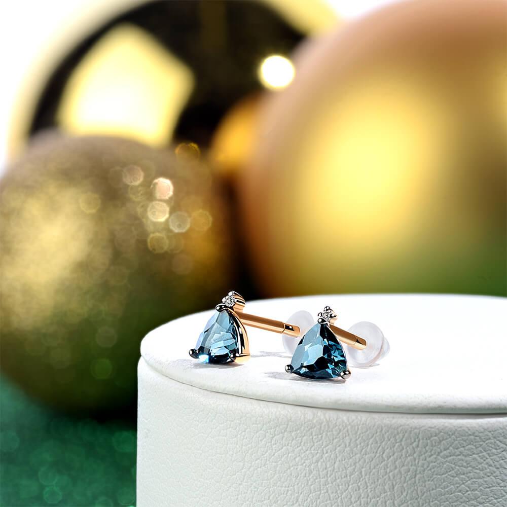Серьги-пусеты из золота с топазами и бриллиантами