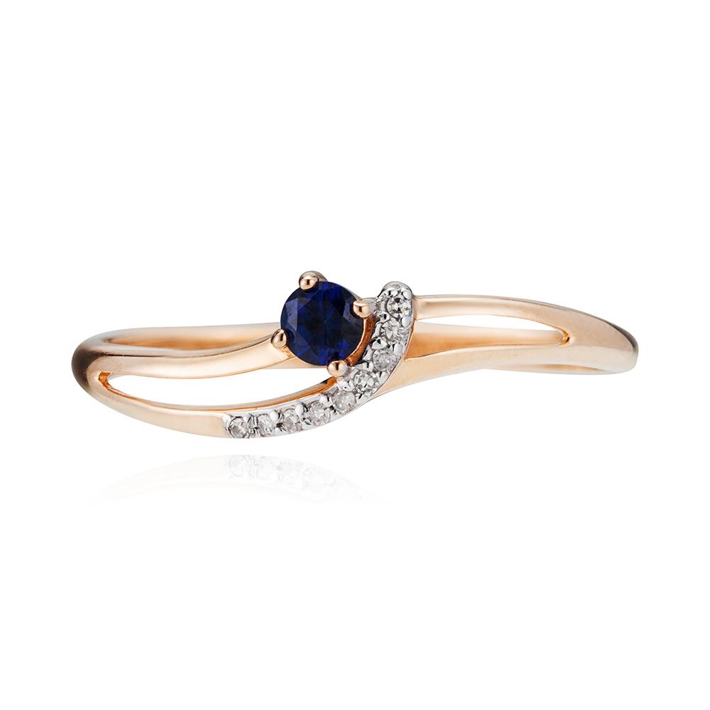 Кольцо с сапфиром корунд и бриллиантами