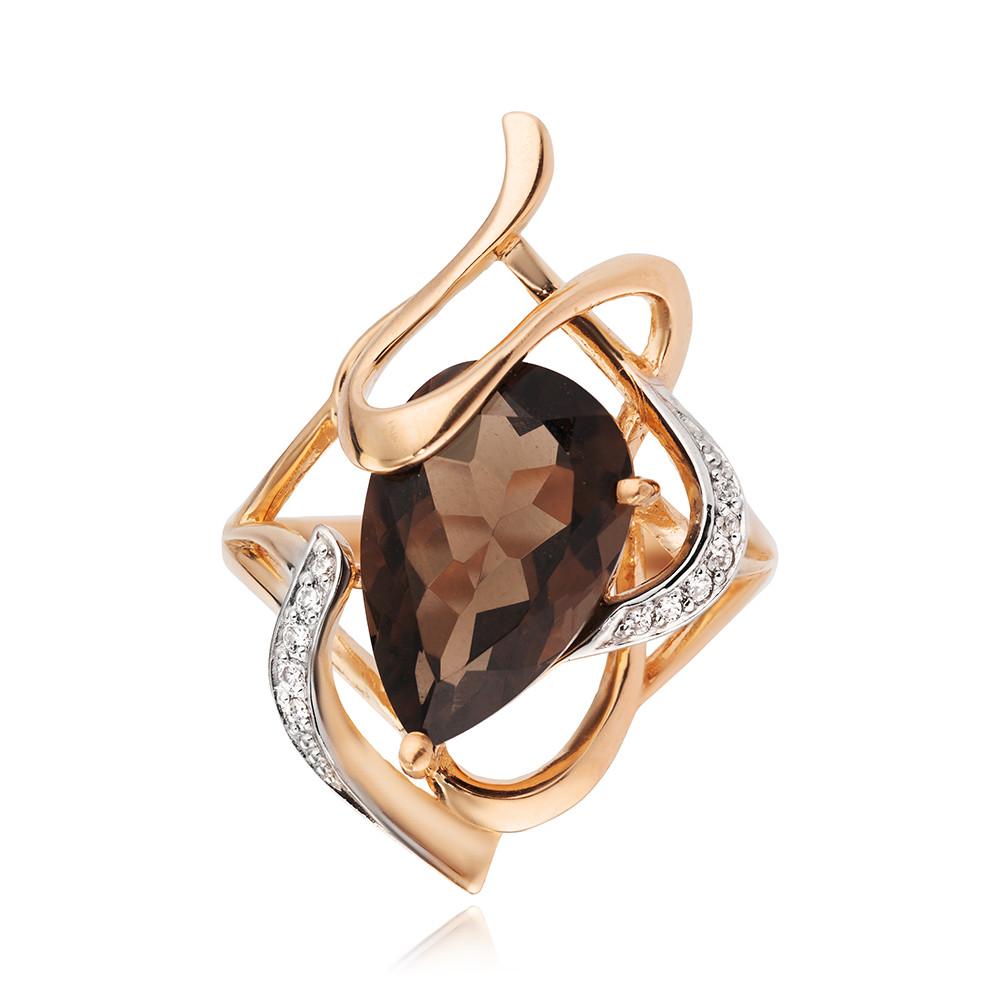 Кольцо с раух-топазом и фианитами из золота