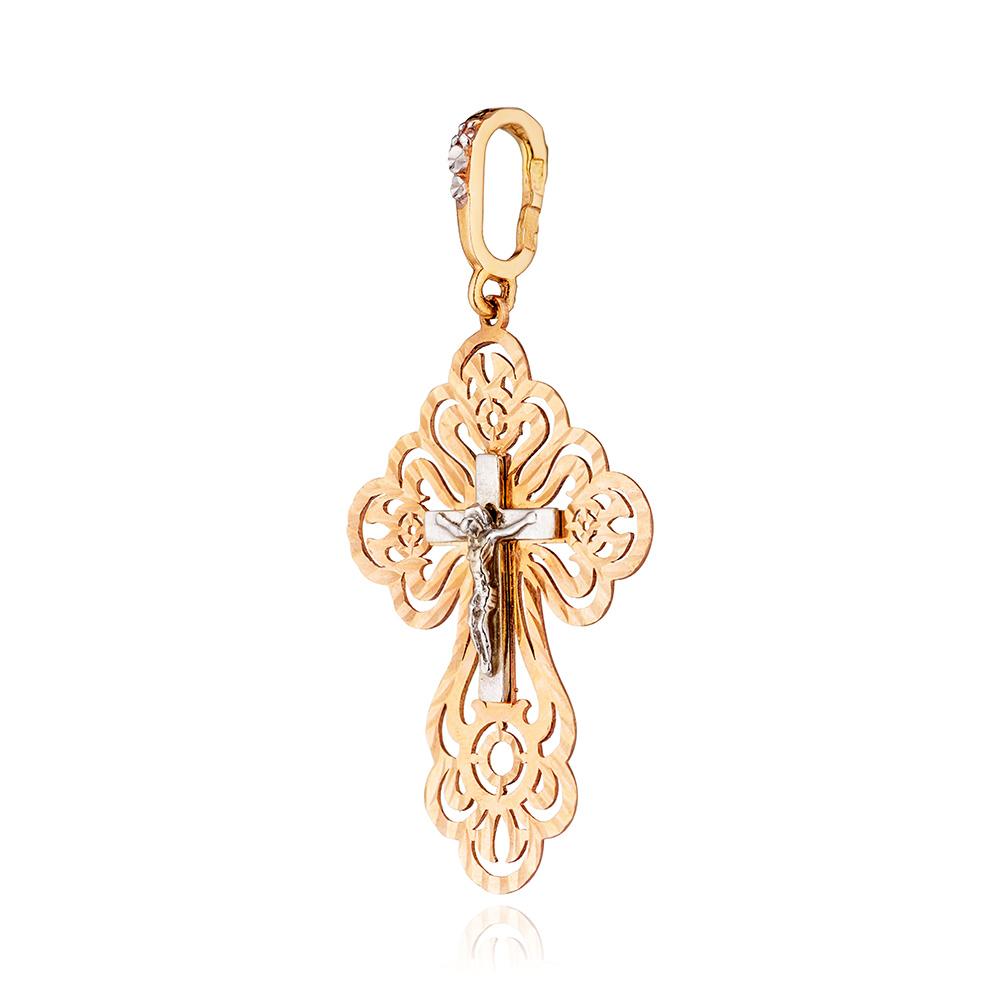 Крест с фианитами и алмазной гранью