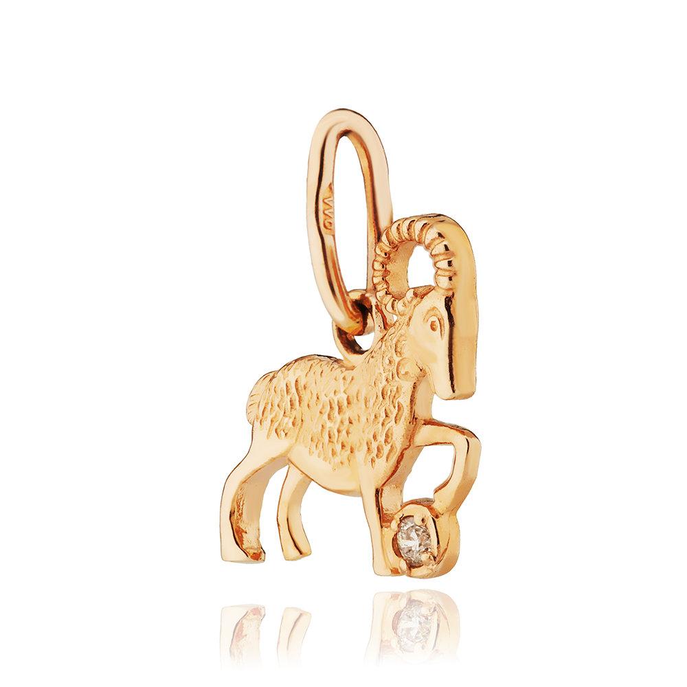 Подвеска из золота с бриллиантом, знак зодиака Овен