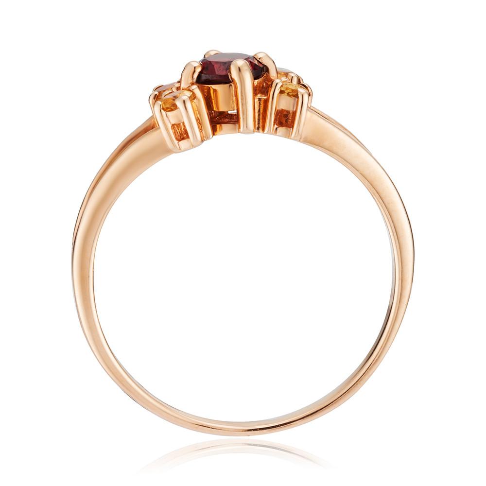 Кольцо  из золота с гранатом и цитринами