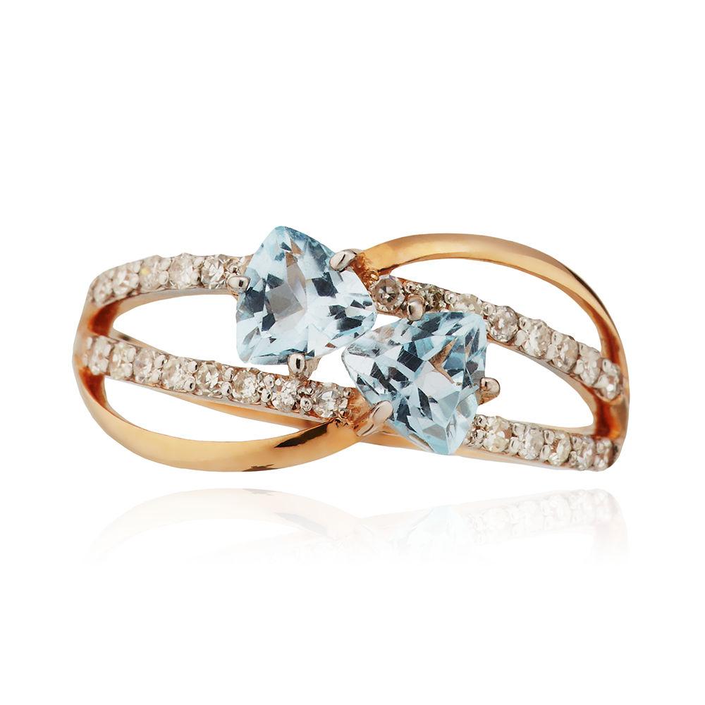 Кольцо с топазами, бриллиантами и родированием