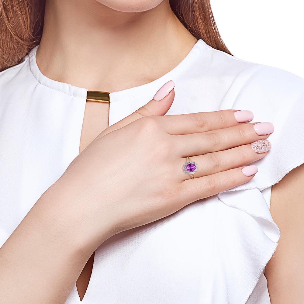 Кольцо из золота с александритом и фианитами
