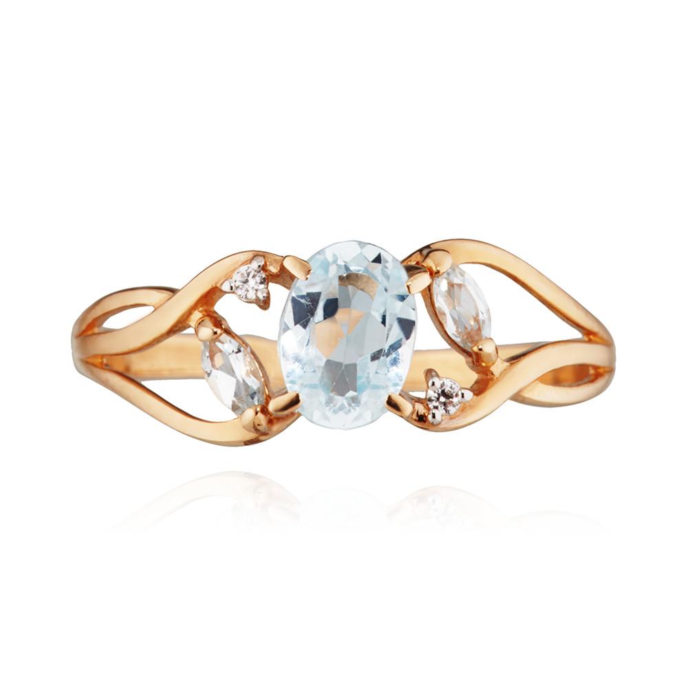 Кольцо с топазами и фианитами из золота