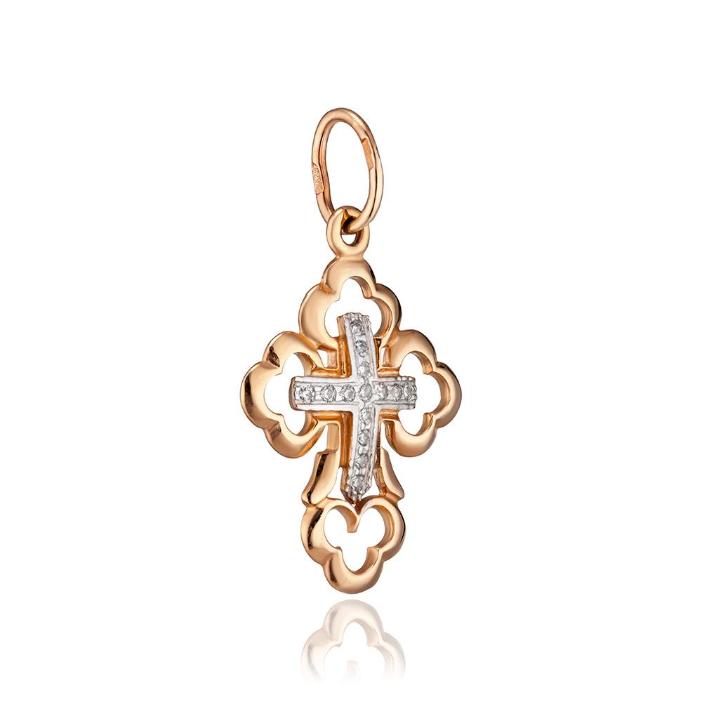 Крест с фианитами и родированием