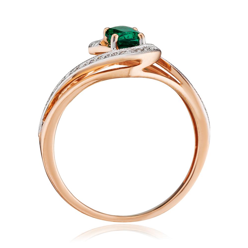 Кольцо с гидротермальным изумрудом и бриллиантами