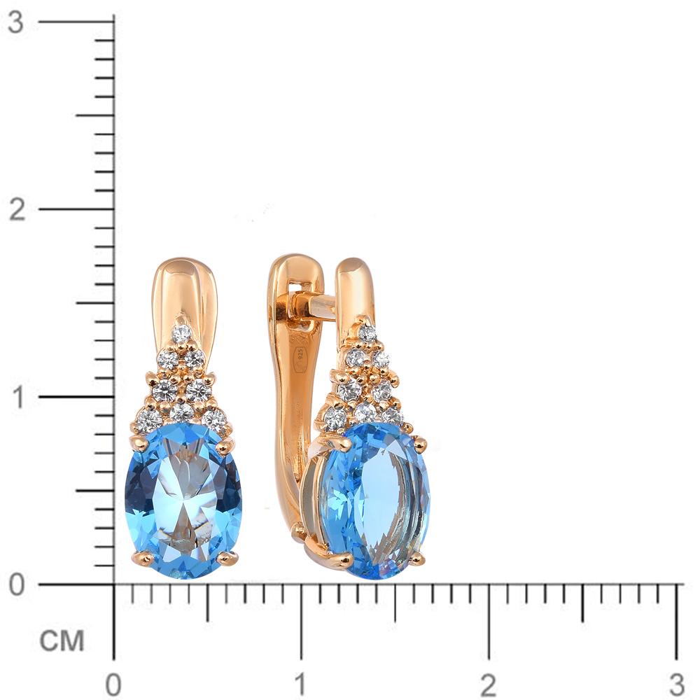 Серьги с кристаллом и фианитами из серебра