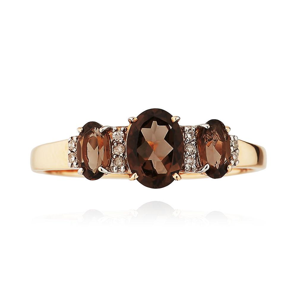 Кольцо с раух-топазами и бриллиантами из золота
