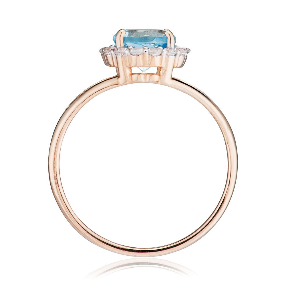 Кольцо с топазом и фианитами из золота
