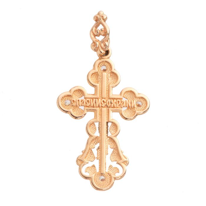 Крест с фианитами из золота