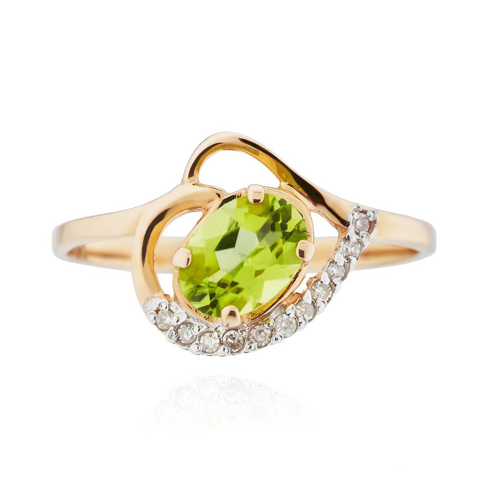 Кольцо с хризолитом и бриллиантами