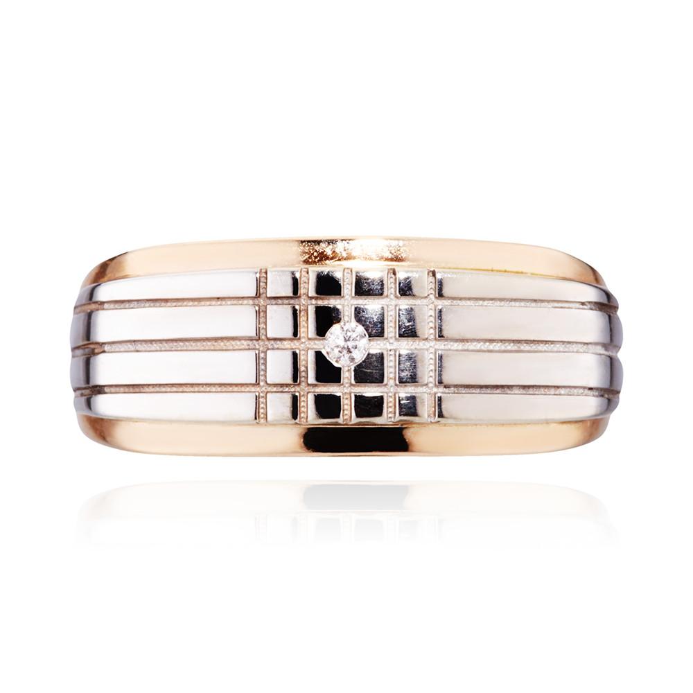 Кольцо-печатка с бриллиантом