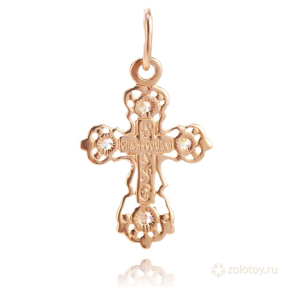Крестик с фианитами из золота