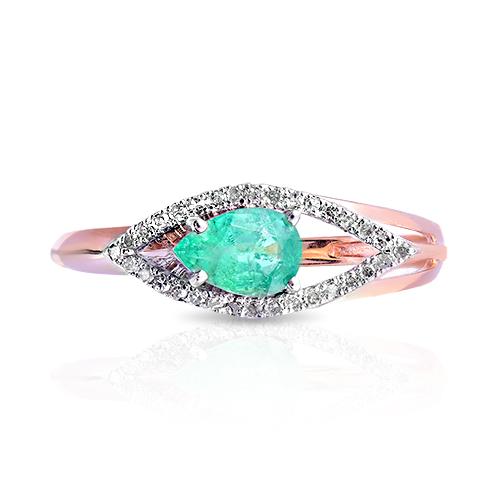 Кольцо с изумрудом, бриллиантами и родированием