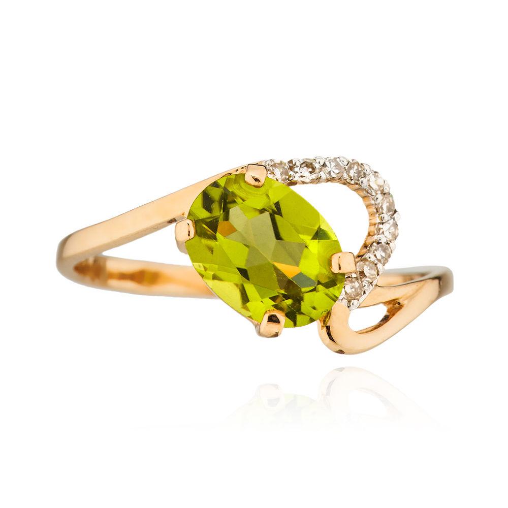 Кольцо с хризолитом и бриллиантами из золота