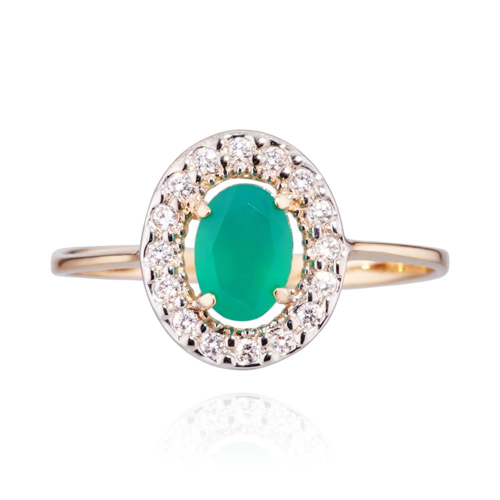 Кольцо с зеленым агатом и фианитами