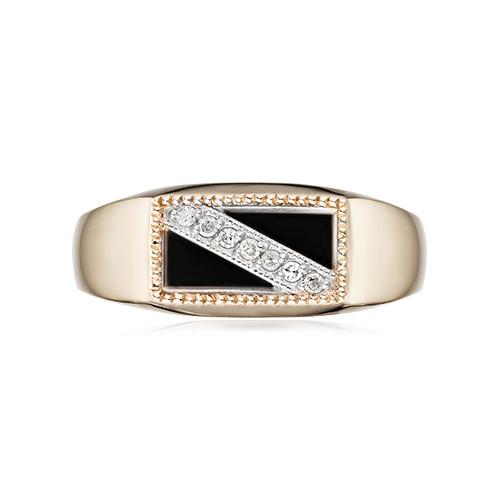 Кольцо-печатка с агатом, бриллиантами и родированием