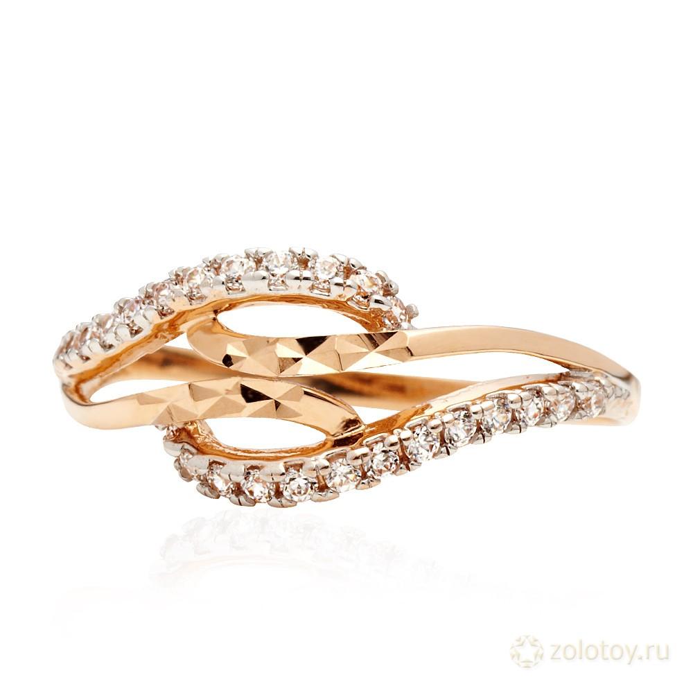 Кольцо с фианитами, алмазной гранью и родированием