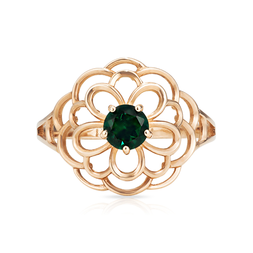 Кольцо с зелёным кварцем