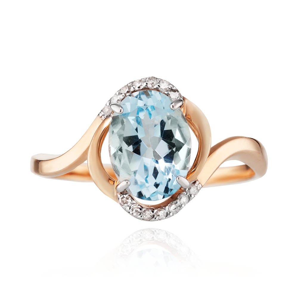 Кольцо с топазом бриллиантами