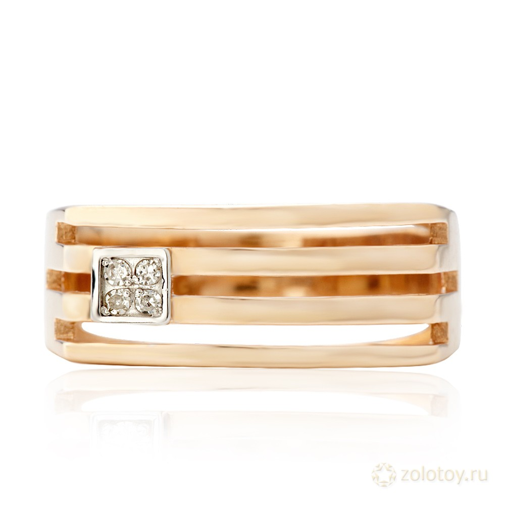 Золотое кольцо печатка с бриллиантом