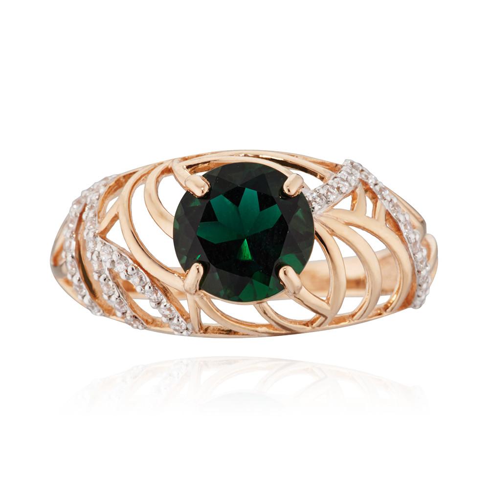 Кольцо с зеленым кварцем и фианитами