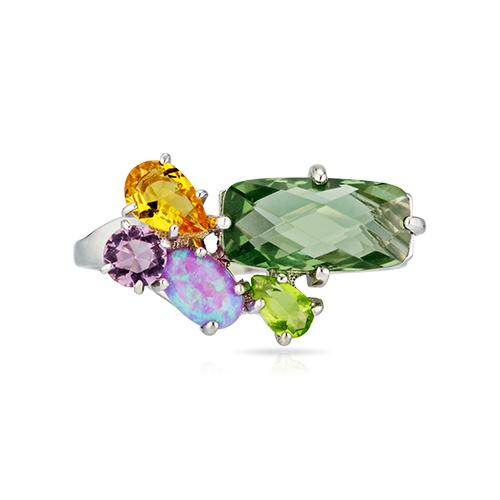 Кольцо с кварцем, аметистом, хризолитом, опалом
