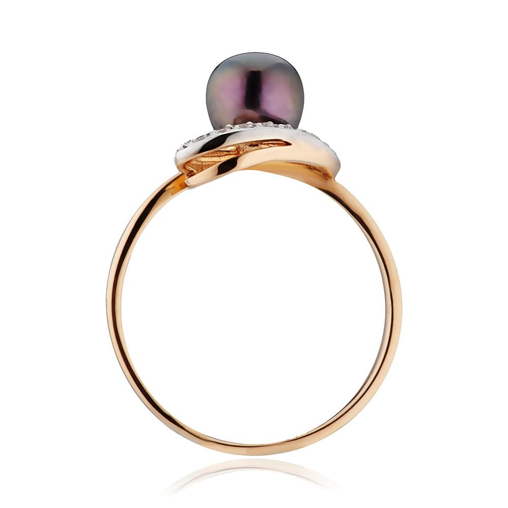 Кольцо с черным жемчугом и фианитами
