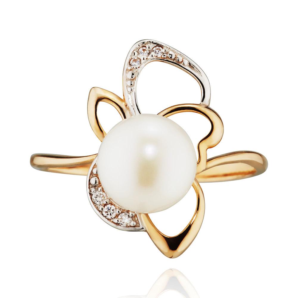 Кольцо с белым жемчугои и фианитами