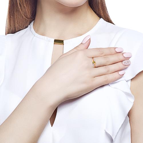 Кольцо с хризолитом, фианитами и родированием