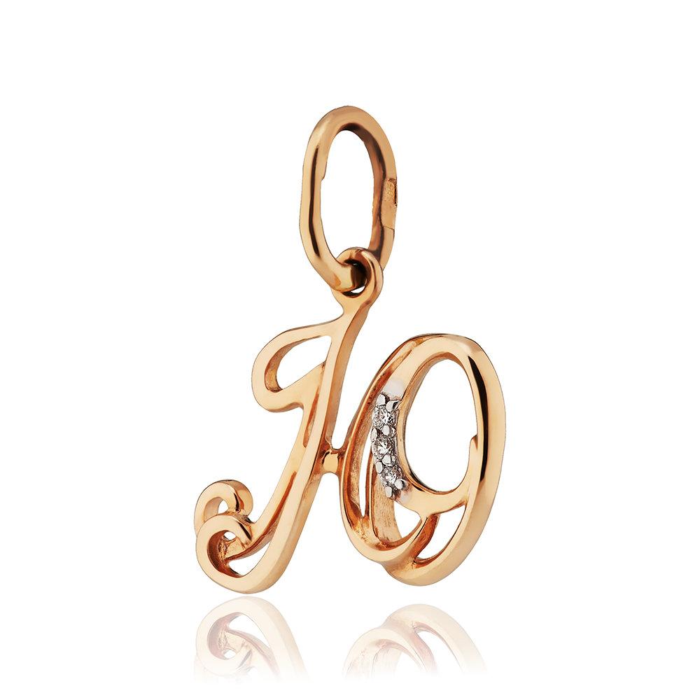 Подвеска буква Ю с фианитами из золота