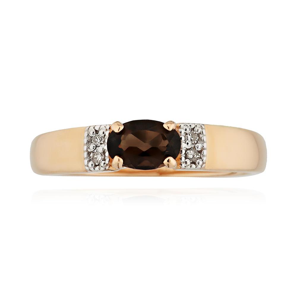 Кольцо с раух-топазом и бриллиантами из золота