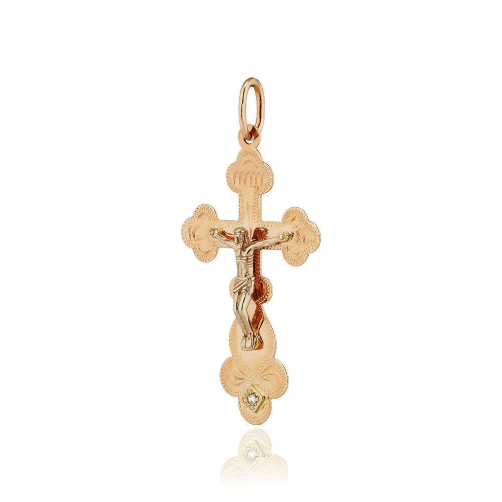 Крест с фианитом, гравировка