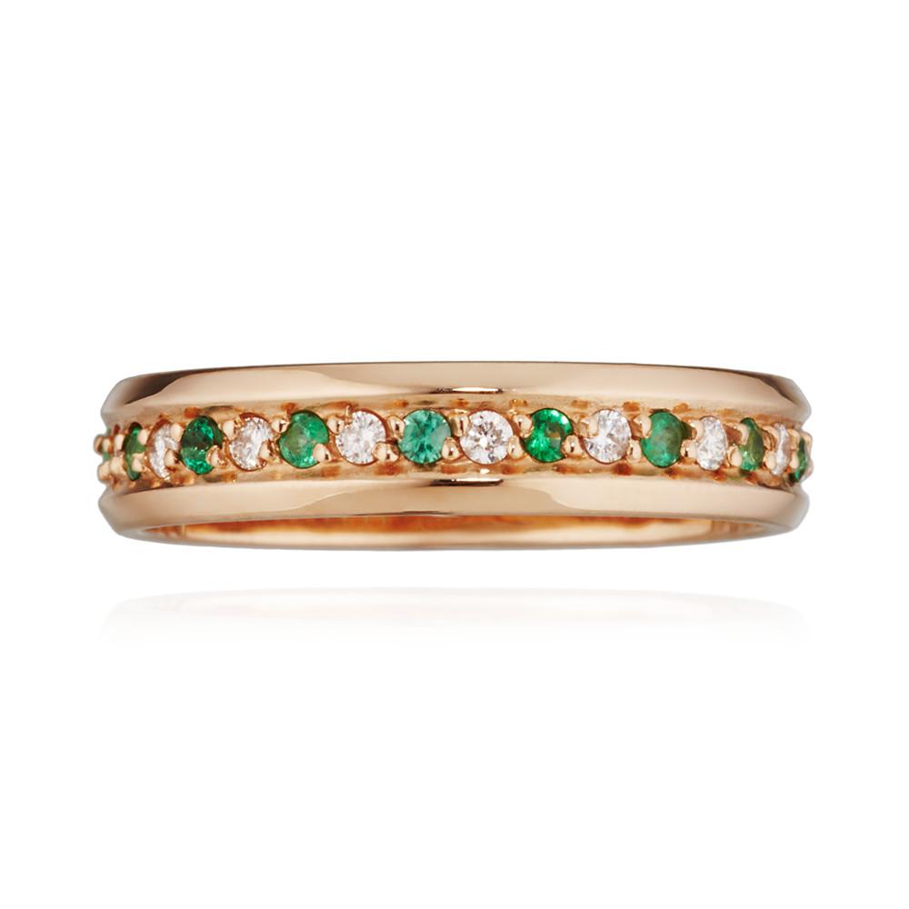 Кольцо обручальное с изумрудами и бриллиантами