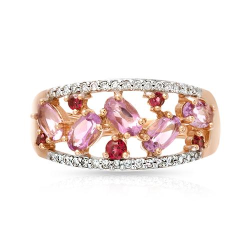 Кольцо с бриллиантами, аметистами и родолитами