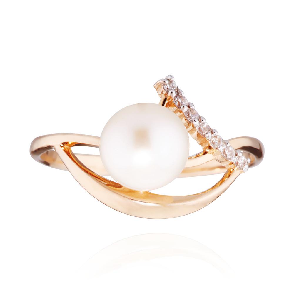 Кольцо с белым жемчугом и фианитами