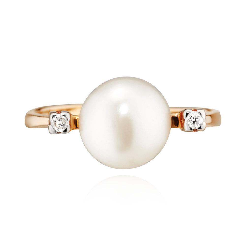 Кольцо с бриллиантами, белым жемчугом и родированием