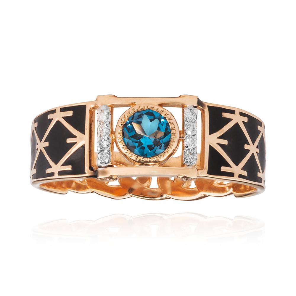 Кольцо-печатка с топазом London и бриллиантами