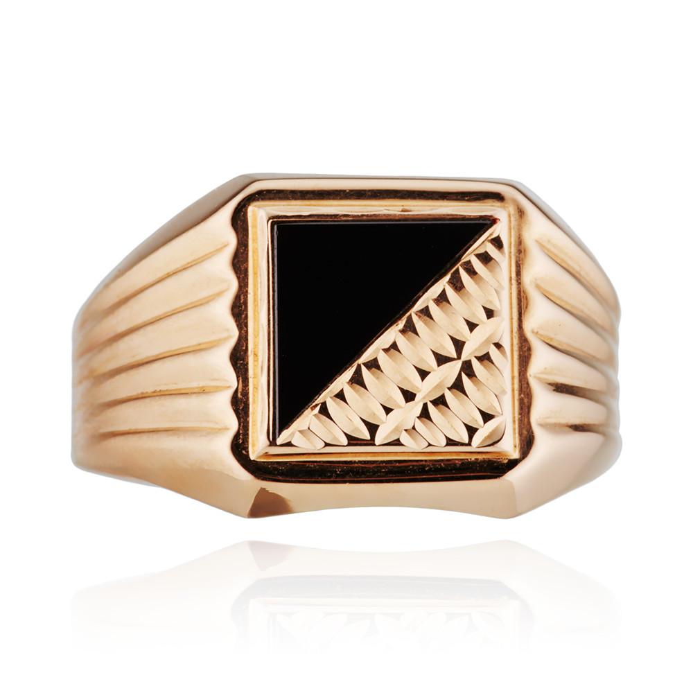 Кольцо печатка с фианитом из золота