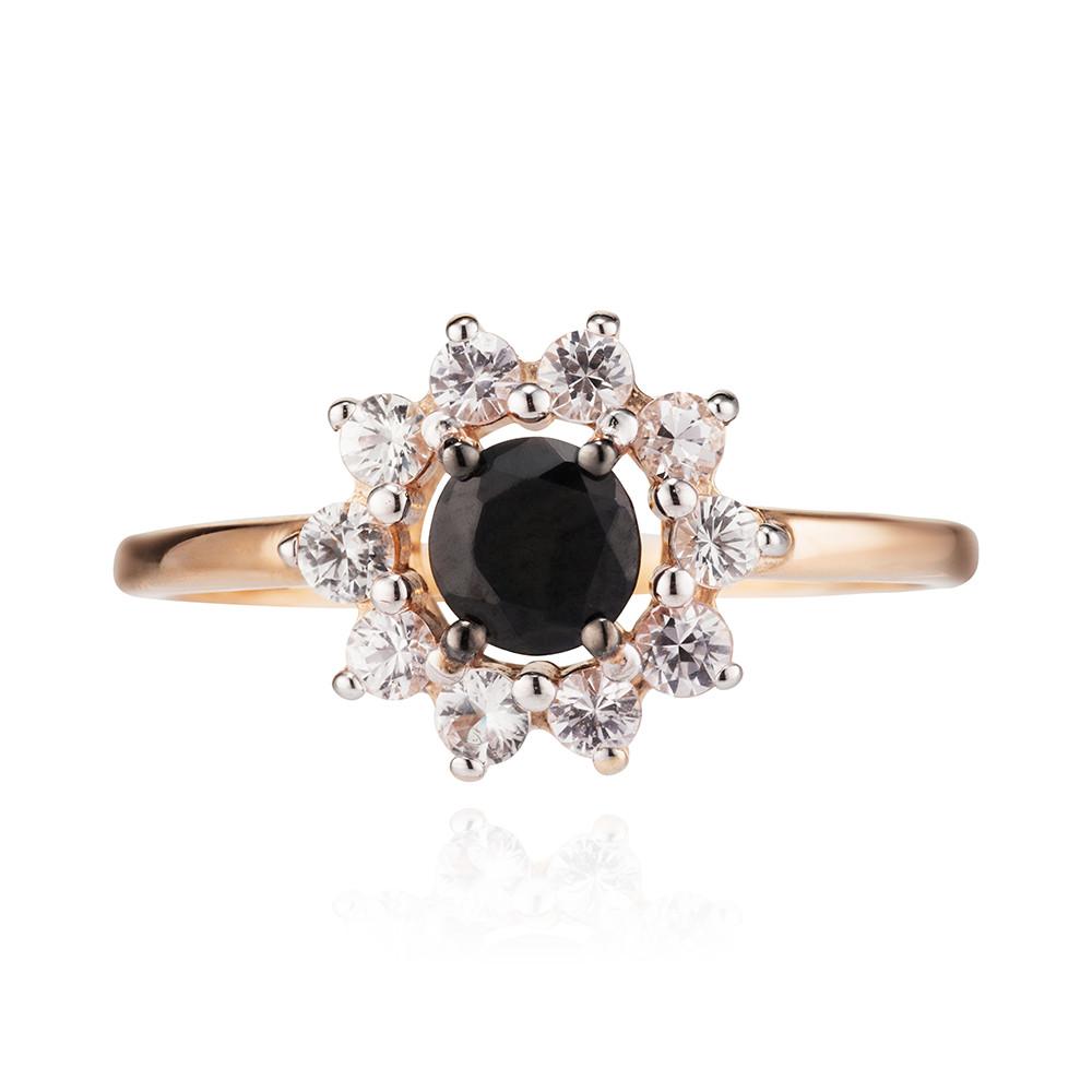Кольцо с черными и белыми сапфирами