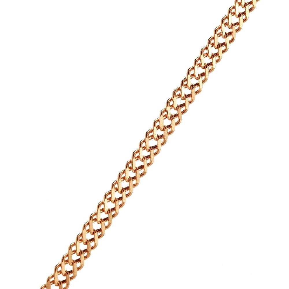 Золотая цепочка пустотелая, плетение двойной Ромб