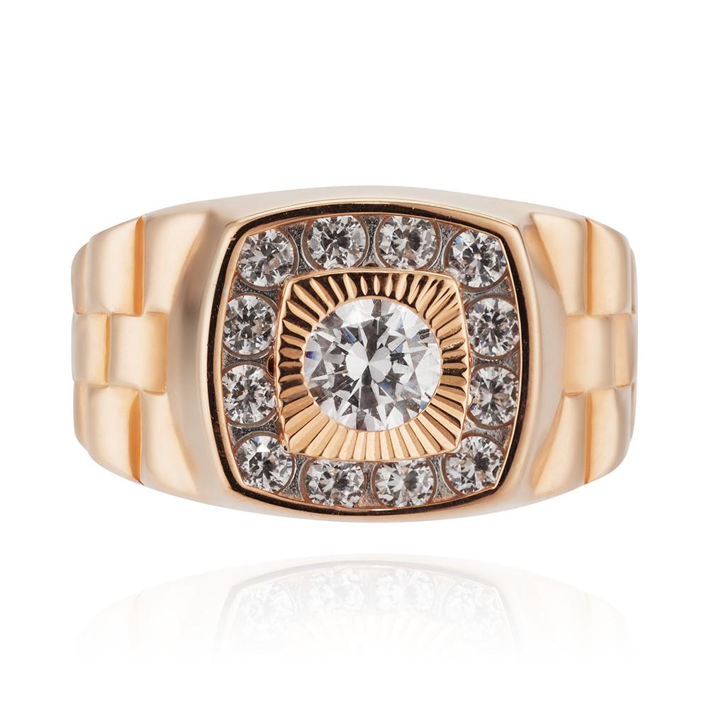 Кольцо печатка с фианитами и алмазной гранью