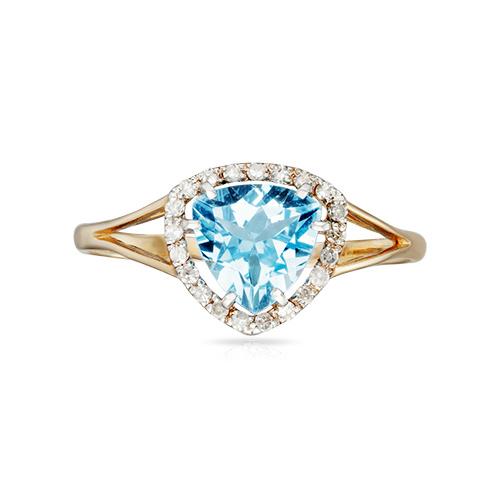 Кольцо с топазом Swiss, бриллиантами и родированием