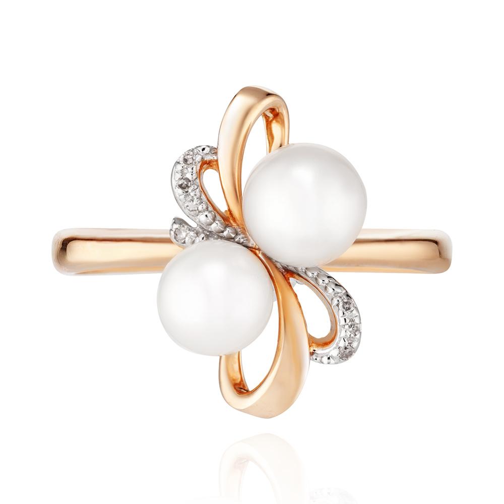 Кольцо с жемчугои и бриллиантами из золота