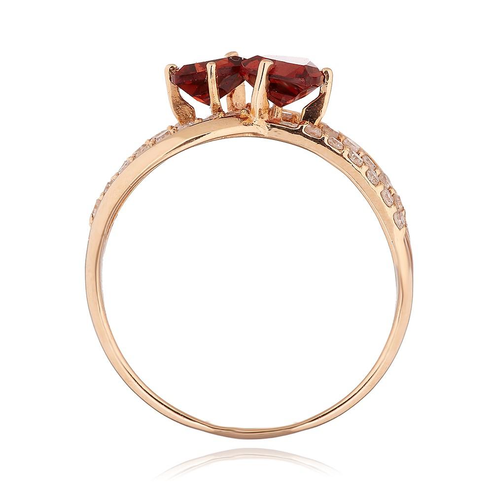 Кольцо с бриллиантами, гранатами и родированием